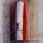 `` Der Gang nach Emmaus `, Acrylcollage, 70x90 cm, Leinwand