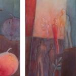 `Wo bist du, Adam `, Acrylmontage, 2 tlg. 20x100 cm + 50x100 cm Leinwand 50